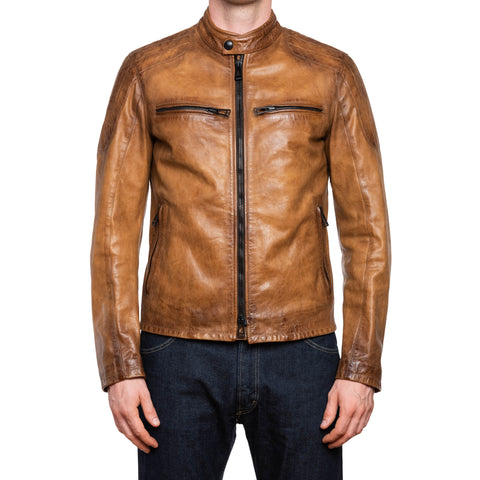 BELSTAFF Brown Leather Cafe Racer Motorcycle Jacket EU 48 US S