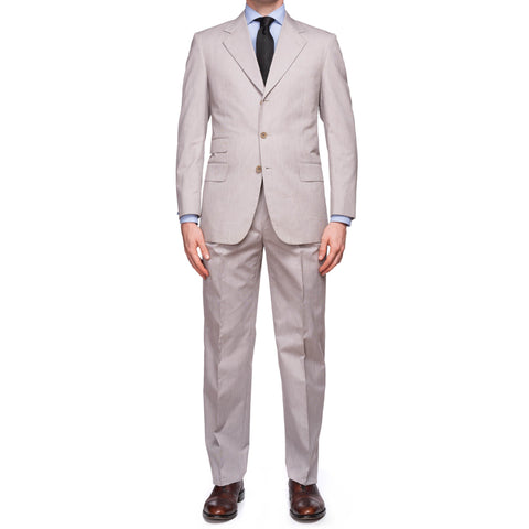 CASTANGIA 1850 Gray Striped Cotton Summer-Spring Suit EU 48 NEW US 38