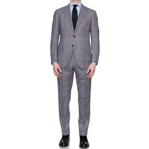 CESARE ATTOLINI Napoli Handmade Gray Windowpane Wool Suit EU 52 NEW US 42