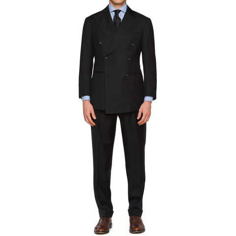 Sartoria CHIAIA Bespoke Handmade Black Wool DB Suit EU 50 NEW US 40