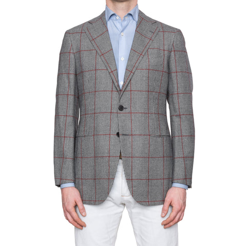 CESARE ATTOLINI Gray Prince of Wales Wool Super 150's Blazer Jacket 50 NEW US 40