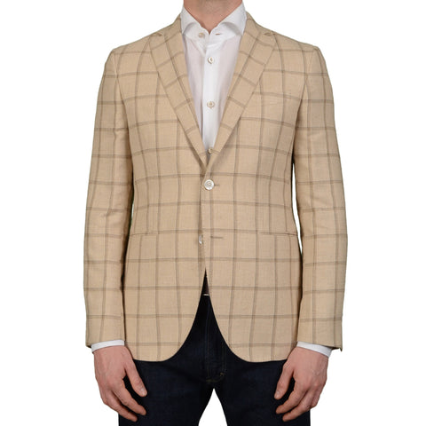 "BOGLIOLI Milano ""Hampton"" Beige Plaid Silk-Linen Wool Blazer Jacket 48 NEW US 38"