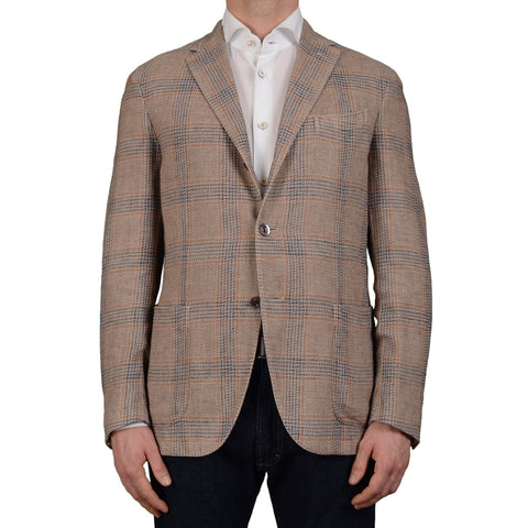 "BOGLIOLI Milano ""Coat"" Taupe Plaid Cotton-Linen Unlined Blazer Jacket 50 NEW 40"