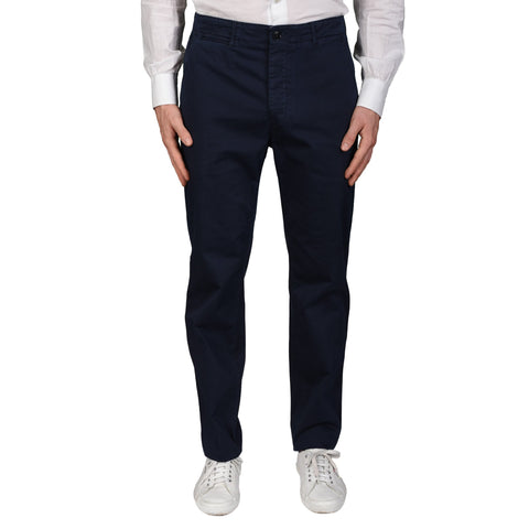 BOGLIOLI Milano Navy Blue Cotton Straight Fit Pants EU 48 NEW US 32