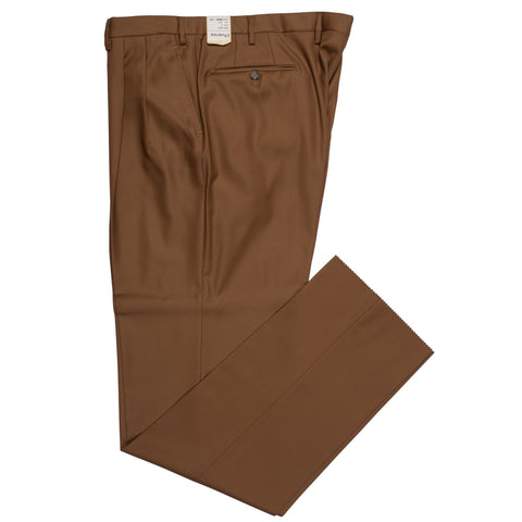 D'AVENZA Roma Brown Wool Twill DP Dress Pants NEW Classic Fit