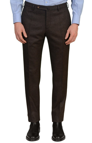 INCOTEX (Slowear) Dark Brown Birdseye Flannel Flat Front Slim Fit Pants NEW