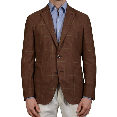 "BOGLIOLI Milano ""Dover"" Brown Plaid Cotton-Silk Unlined Jacket EU 50 NEW US 40"