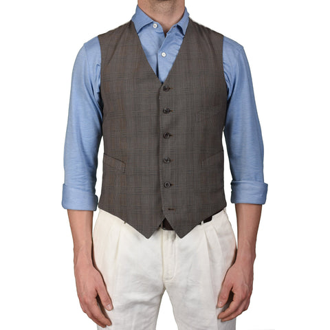 BOGLIOLI Milano Taupe Prince of Wales Wool 6 Buttons Vest Waistcoat NEW