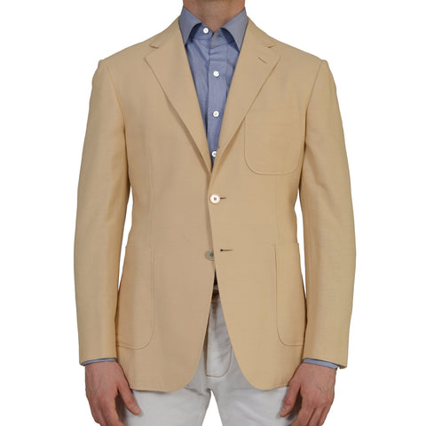 "D'AVENZA ""Dakar"" Beige Hopsack Cotton Wool Blazer Jacket EU 50 NEW US 40"