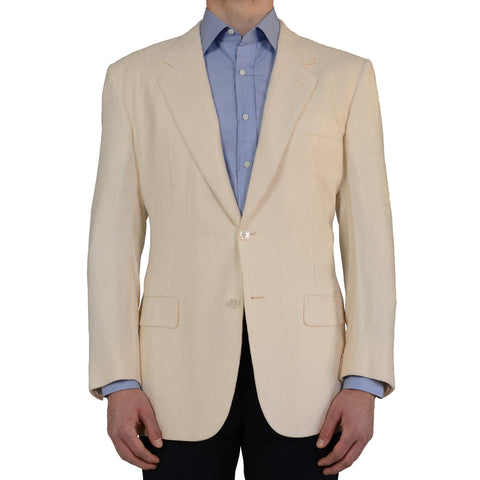 D'AVENZA For CASCELLA Handmade Ivory Silk Blazer Jacket EU 56 NEW US 46