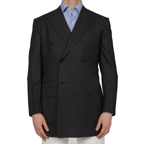 GIEVES & HAWKES Handmade Gray Wool Super 150's DB Jacket EU 51 NEW US 41