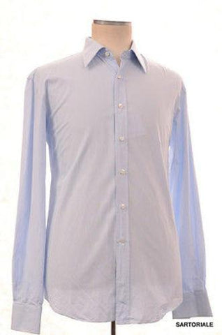 RUBINACCI Napoli Hand Made Solid Blue Cotton Dress Shirt 44 NEW 17.5 Regular Fit - SARTORIALE - 1