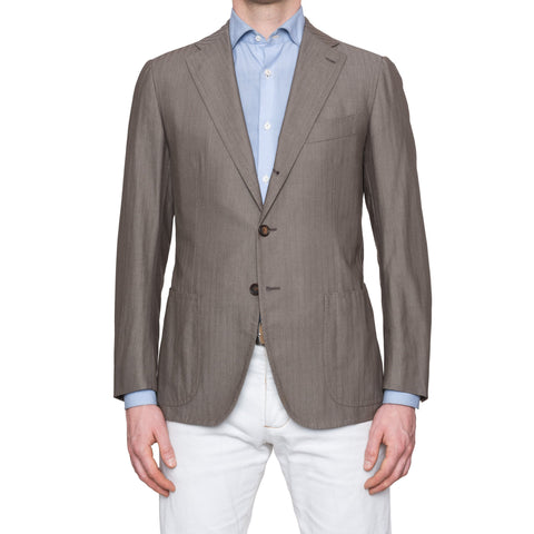 CESARE ATTOLINI Hand-Stitched Taupe Herringbone Cotton Jacket EU 48 NEW US 38