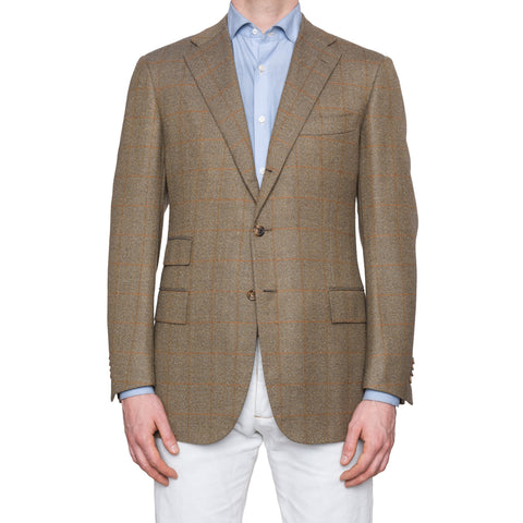 CESARE ATTOLINI Handmade Windowpane Wool Silk Blazer Jacket EU 50 NEW US 40