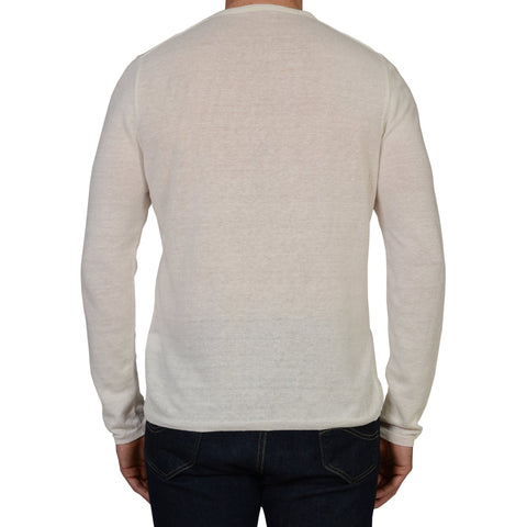 ANDERSON & SHEPPARD White Linen Long Sleeves Crewneck T- Shirt EU 52 NEW US L