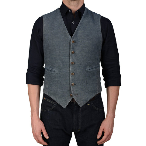 "BOGLIOLI Milano ""Coat"" Blue Denim 6 Buttons Vest Waistcoat NEW with Defect"