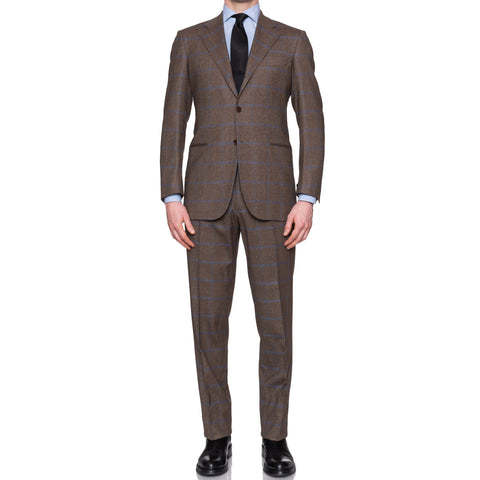 Sartoria CESARE ATTOLINI Napoli Handmade Brown Windowpane Wool-Angora Suit NEW