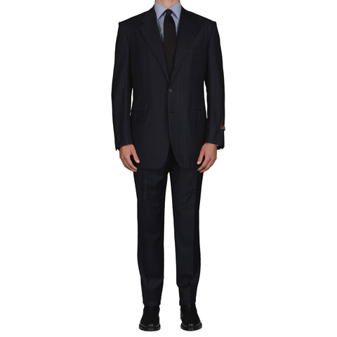 D'AVENZA Roma Handmade Navy Blue Wool Suit EU 54 NEW US 44 Long