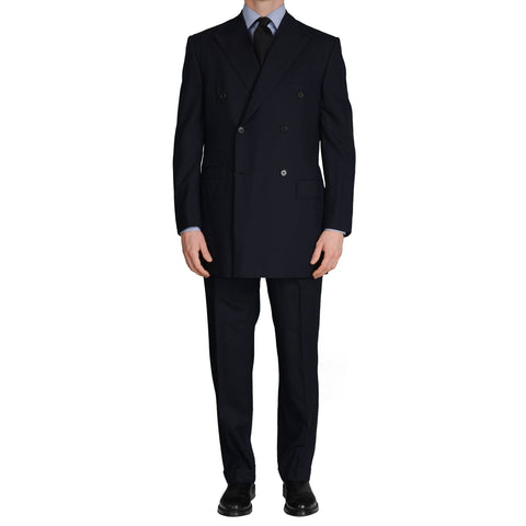 GIEVES & HAWKES Handmade Navy Blue Wool DB Suit EU 51 NEW US 40 41 Long