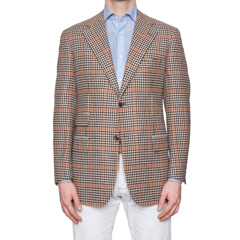 CESARE ATTOLINI Beige Brown Houndstooth Wool Flannel Blazer Jacket 52 NEW US 42