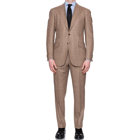 CESARE ATTOLINI Napoli Handmade Beige Plaid Wool Flannel Suit EU 50 NEW US 40