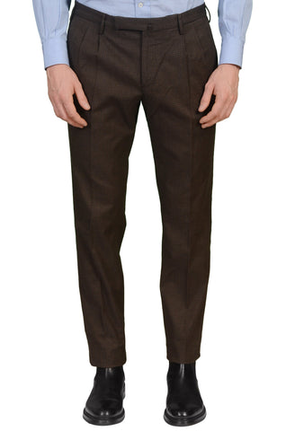 INCOTEX (Slowear) High Comfort Brown Cotton Double Pleated Slim Fit Pants NEW