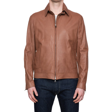 CESARE ATTOLINI Napoli Brown Lambskin Leather Aviator Flight Jacket 50 NEW US M