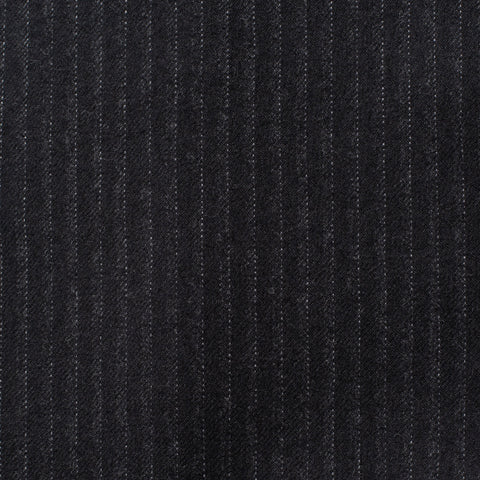 CESARE ATTOLINI Black Striped Wool Super 120's Cashmere Flannel Suit 52 NEW 42