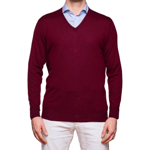 ANDERSON & SHEPPARD Burgundy Cashmere V-Neck Sweater NEW Size L