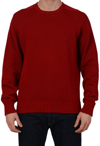 ANDERSON & SHEPPARD Red Cotton Knitted Ribbed Crewneck Sweater Size L NEW
