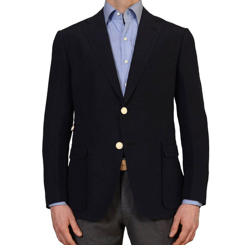 AVI ROSSINI Navy Blue Linen Silk with Leather Elbow Patch Blazer Jacket NEW