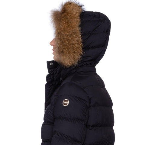 COLMAR Black Down-Feather Fur Trimmed Hooded Parka Jacket Coat NEW