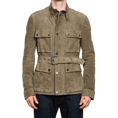 BELSTAFF Olive Green Perforated Suede Leather Unlined Belted Jacket EU 50 US M