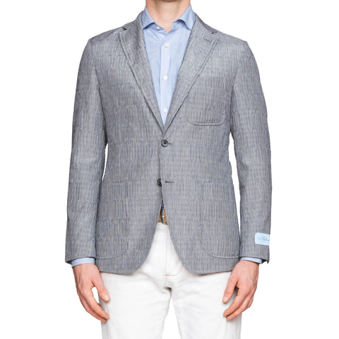 BELVEST Gray Glen Plaid Colton-Silk Seersucker Unlined Sport Coat Jacket NEW