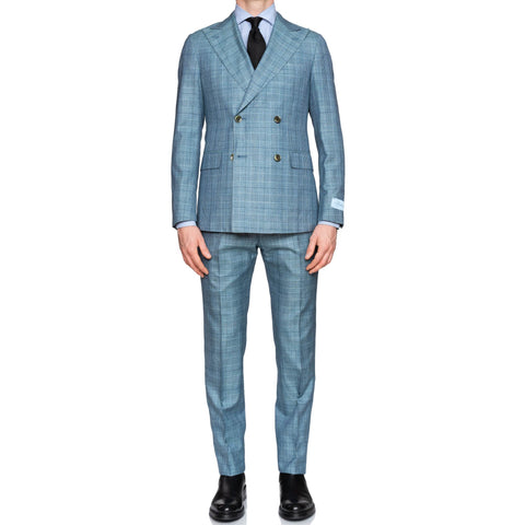 BELVEST Handmade Blue Prince of Wales Silk-Cashmere DB Slim Fit Suit NEW