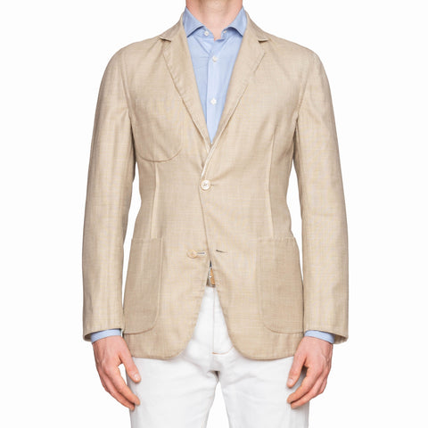 BELVEST Handmade Cream-Beige Wool-Silk-Linen Reversible Jacket EU 48 NEW US 38