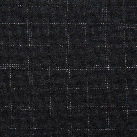 BELVEST Handmade Dark Gray Plaid Wool-Cotton Flannel Unlined Suit NEW