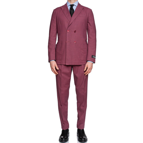 """50th Anniversary"" BELVEST Dark Raspberry Cotton Unlined DB Suit EU 50 NEW US 40 Slim Fit"