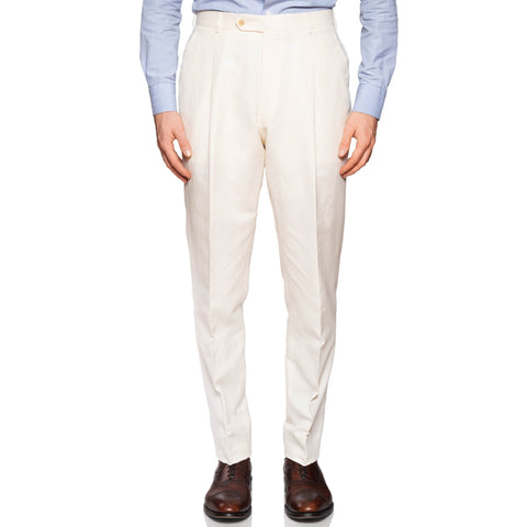 BELVEST Handmade Ivory Cotton-Hemp SP Dress Pants EU 50 NEW US 34