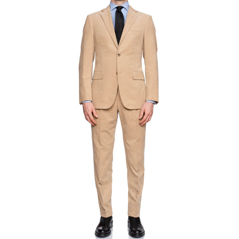 BELVEST Handmade Beige Cotton Corduroy Suit EU 50 NEW US 38 Slim Fit