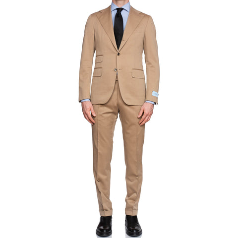 BELVEST Handmade in Italy Tan Wool-Cotton Twill Suit EU 50 NEW US 40 Slim Fit