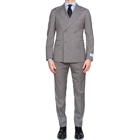 BELVEST Handmade Gray Wool Super 120's DB Suit NEW