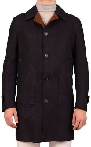 BELVEST Made In Italy Hand Made Navy Blue Wool Cotton Coat EU 52 NEW US 42