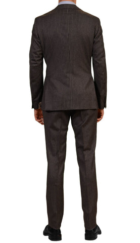 BELVEST Made In Italy Hand Made Gray Striped Wool Flannel Suit NEW