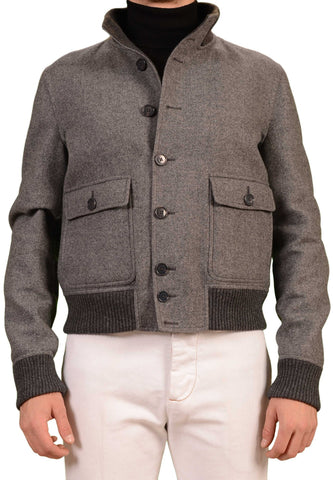 BELVEST Hand Made In Italy Gray Twill Wool Flight Bomber Jacket EU 52 NEW US 42 L