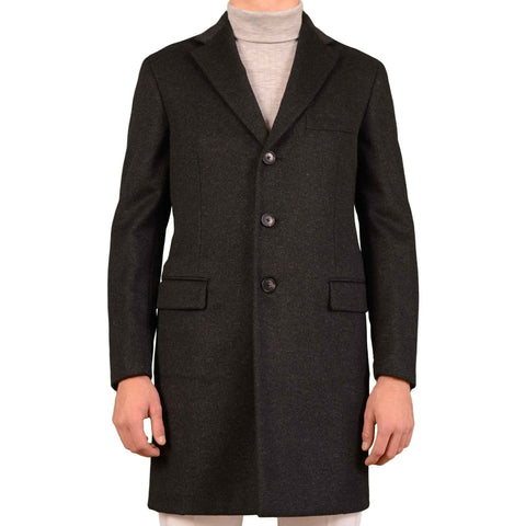 BELVEST Hand Made In Italy Dark Gray Wool Cashmere Belted Coat 54 NEW US XL