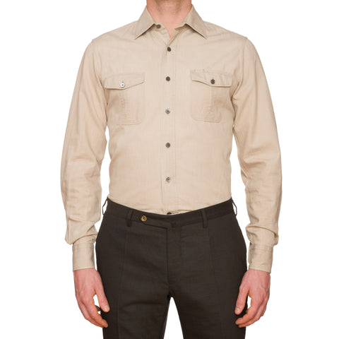 BERLUTI Solid Beige Cotton-Silk Casual Shirt RM US M