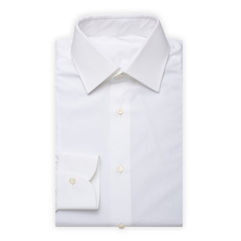 BESPOKE ATHENS Handmade White Cotton Dress Shirt EU 38 NEW US 15 Slim Fit