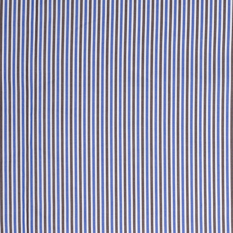 BESPOKE ATHENS Handmade Blue-Brown Striped Cotton Dress Shirt EU 41 NEW US 16
