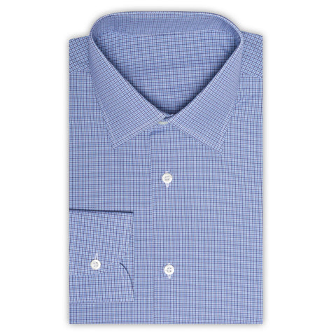 BESPOKE ATHENS Handmade Blue Plaid Cotton Dress Shirt EU 43 NEW US 17